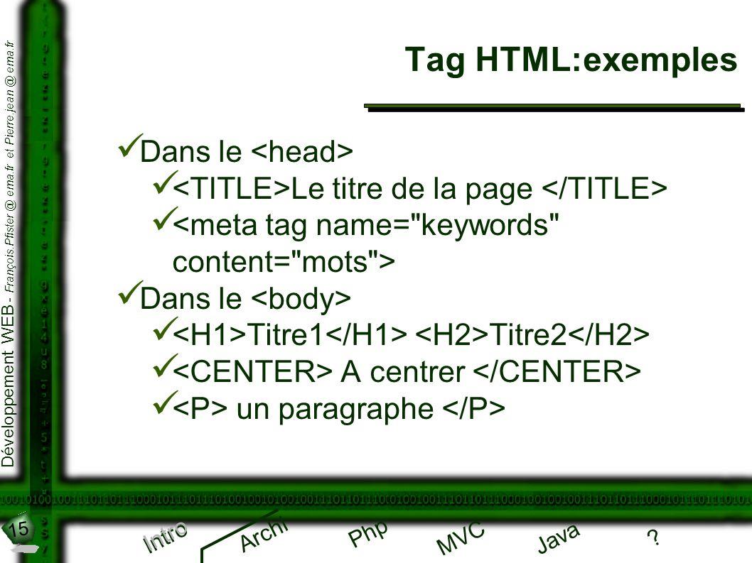 15 Développement WEB - François.Pfister @ ema.fr et Pierre.jean @ ema.fr Intro Archi Php Java ? MVC Tag HTML:exemples Intro Dans le Le titre de la pag