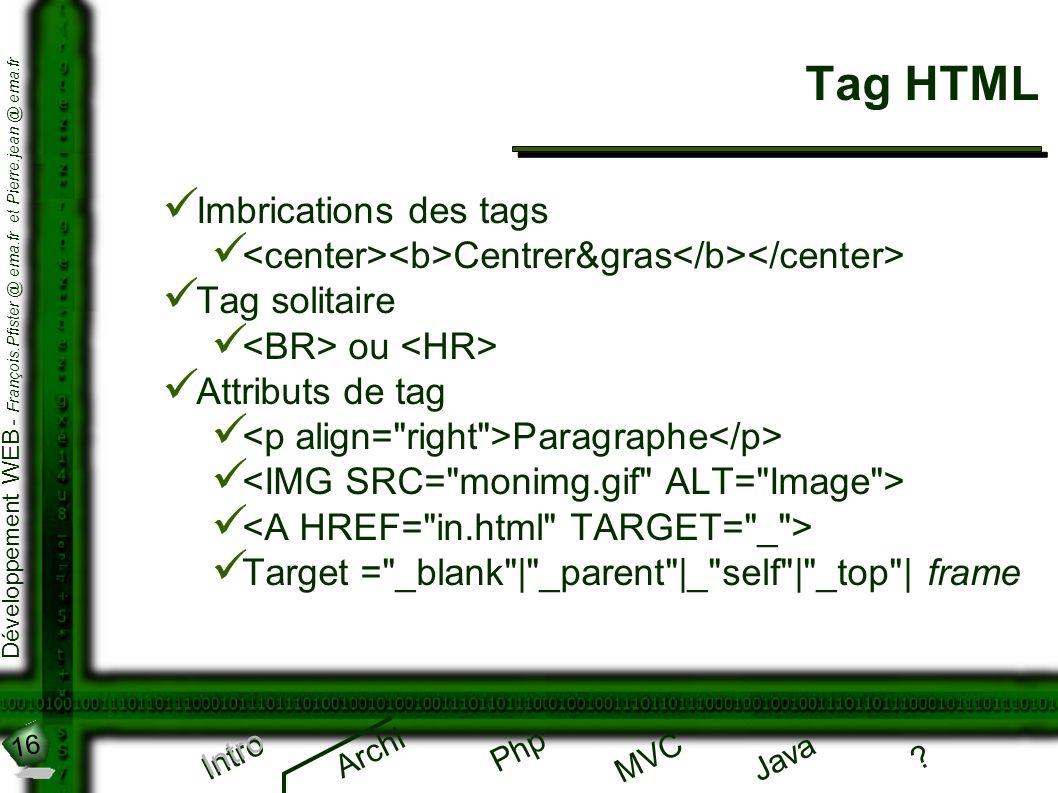 16 Développement WEB - François.Pfister @ ema.fr et Pierre.jean @ ema.fr Intro Archi Php Java ? MVC Tag HTML Intro Imbrications des tags Centrer&gras