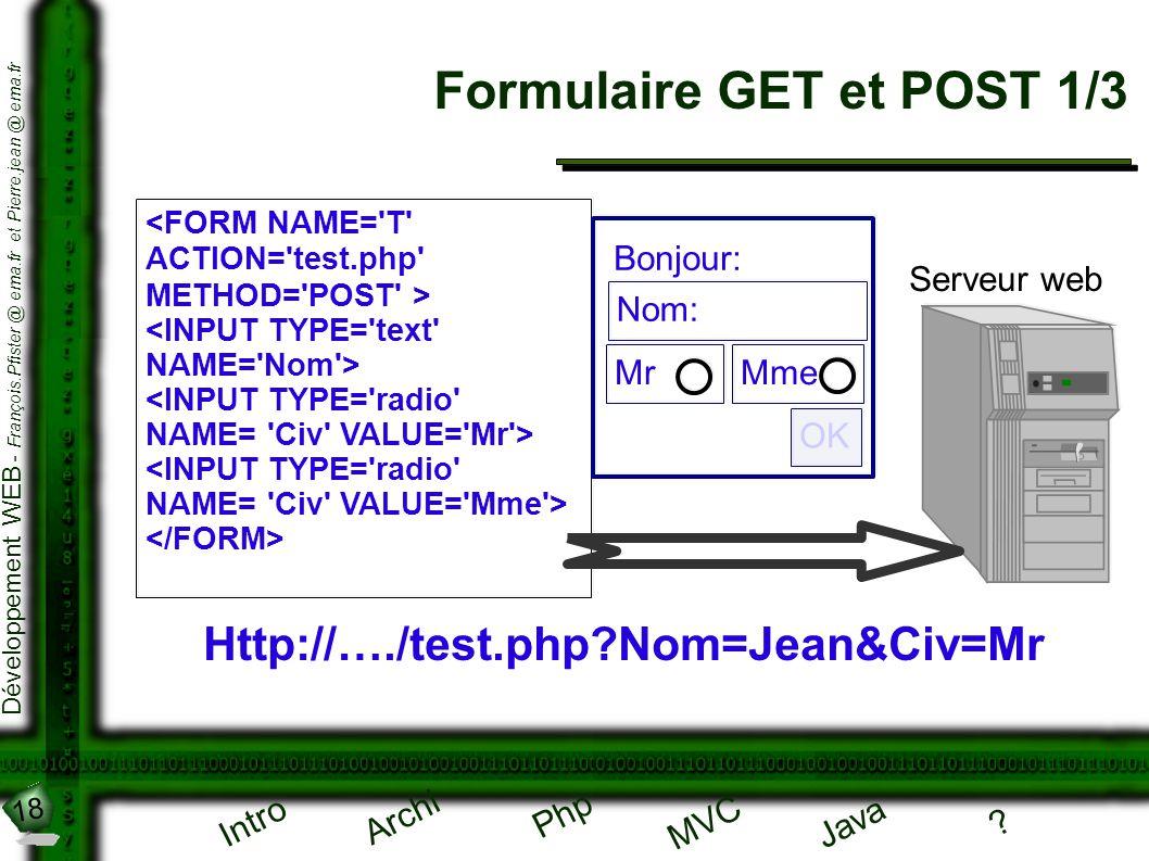 18 Développement WEB - François.Pfister @ ema.fr et Pierre.jean @ ema.fr Intro Archi Php Java ? MVC Formulaire GET et POST 1/3 Http://…./test.php?Nom=