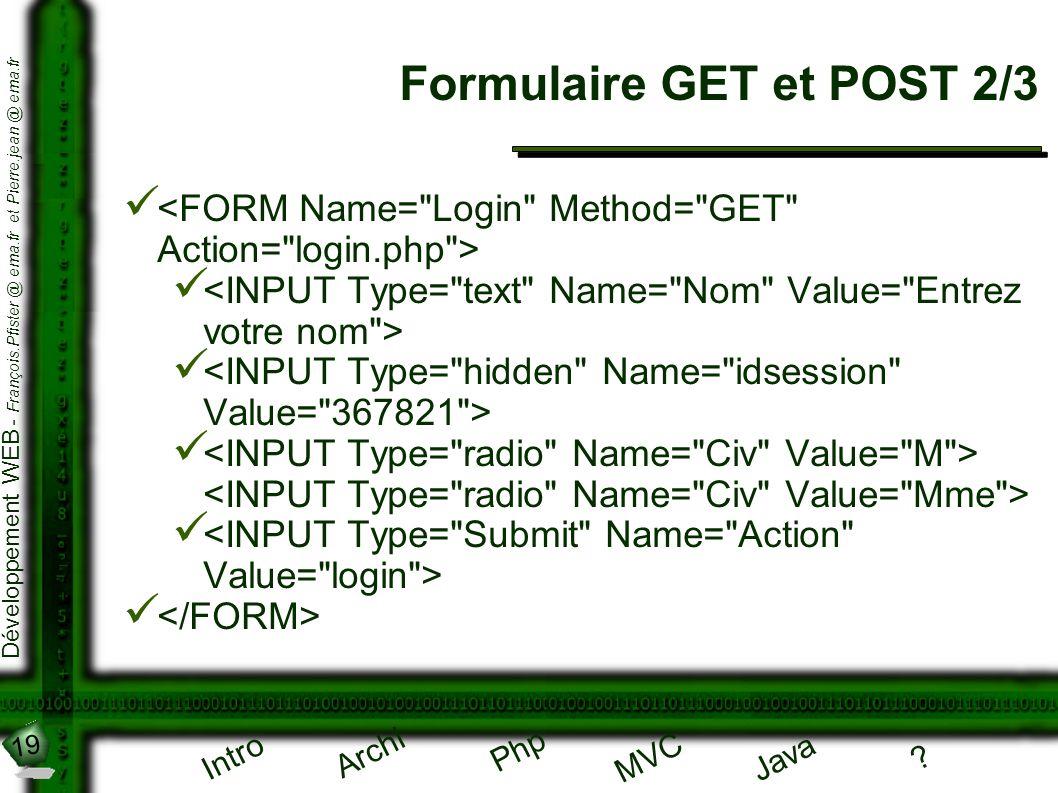 19 Développement WEB - François.Pfister @ ema.fr et Pierre.jean @ ema.fr Intro Archi Php Java ? MVC Formulaire GET et POST 2/3