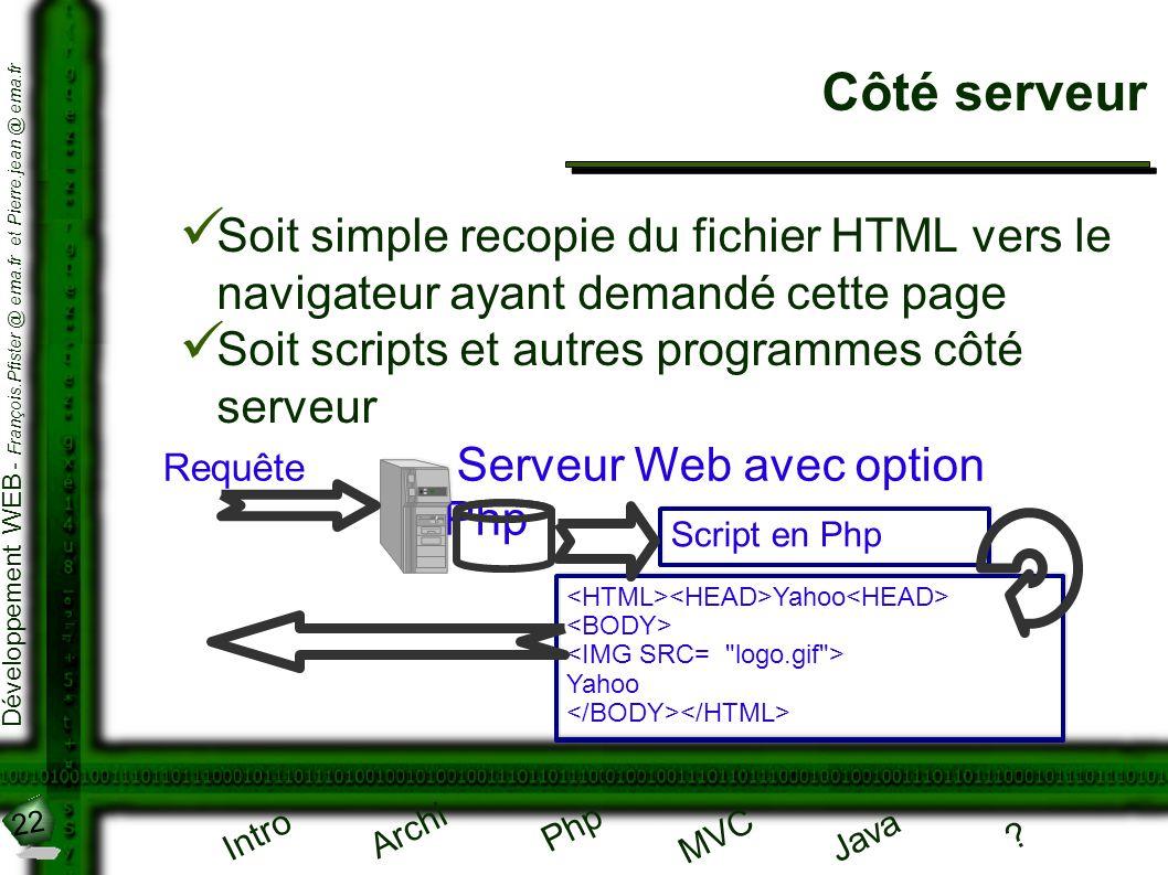 22 Développement WEB - François.Pfister @ ema.fr et Pierre.jean @ ema.fr Intro Archi Php Java ? MVC Côté serveur Soit simple recopie du fichier HTML v