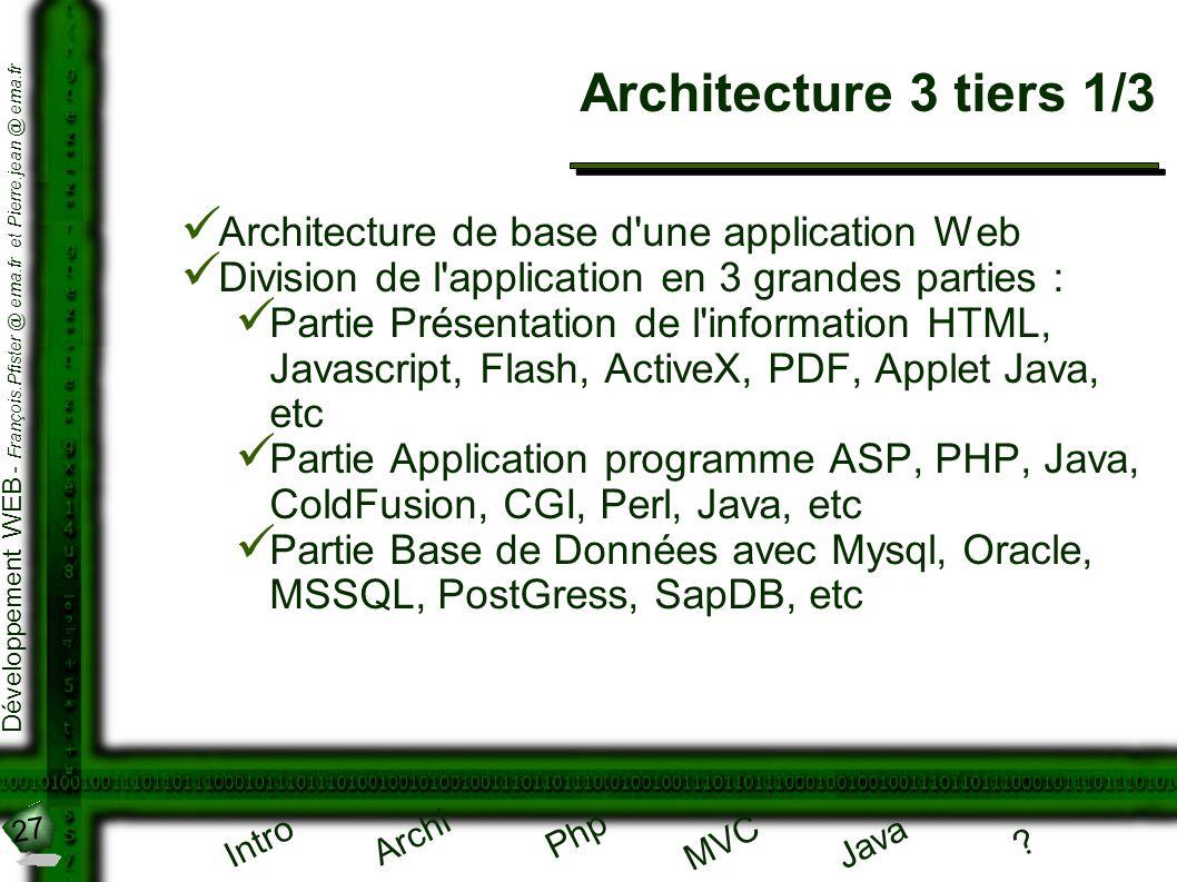 27 Développement WEB - François.Pfister @ ema.fr et Pierre.jean @ ema.fr Intro Archi Php Java ? MVC Architecture 3 tiers 1/3 Architecture de base d'un