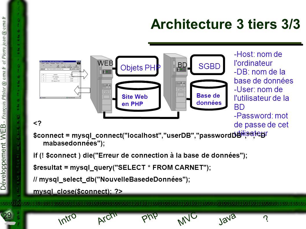 29 Développement WEB - François.Pfister @ ema.fr et Pierre.jean @ ema.fr Intro Archi Php Java ? MVC Architecture 3 tiers 3/3 WEB Site Web en PHP Objet