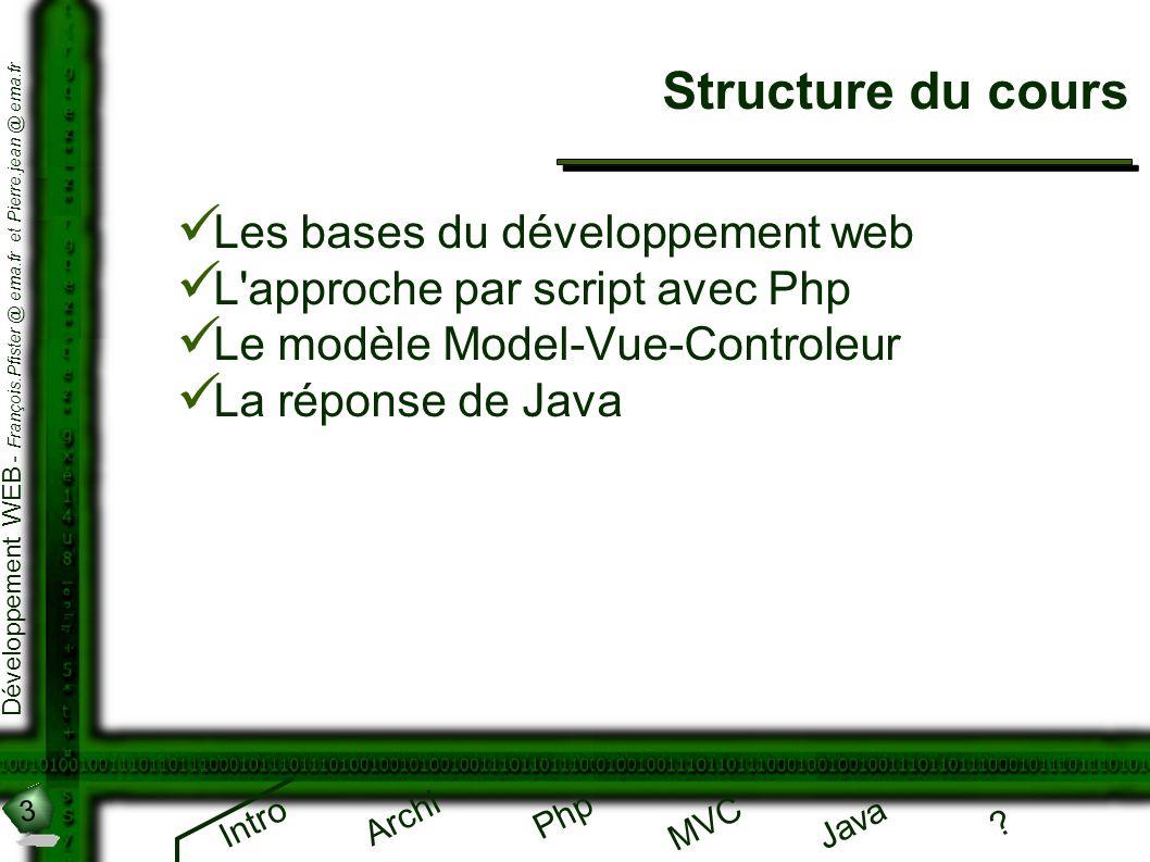 3 Développement WEB - François.Pfister @ ema.fr et Pierre.jean @ ema.fr Intro Archi Php Java ? MVC Structure du cours Les bases du développement web L