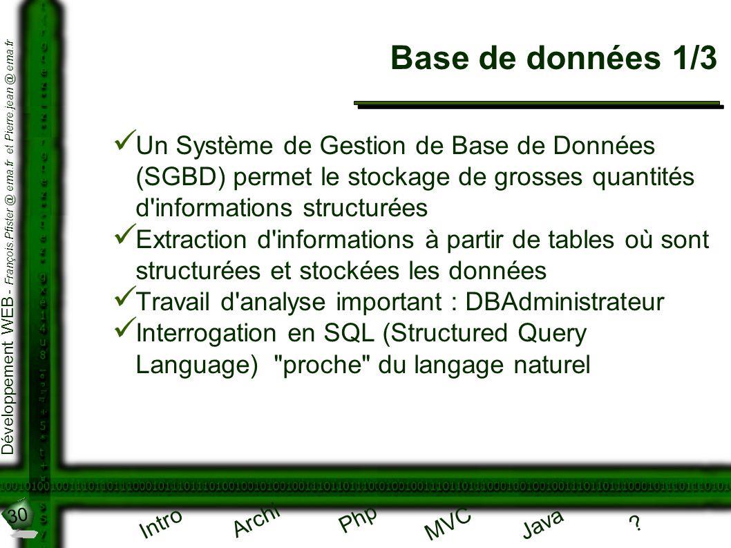 30 Développement WEB - François.Pfister @ ema.fr et Pierre.jean @ ema.fr Intro Archi Php Java ? MVC Base de données 1/3 Un Système de Gestion de Base