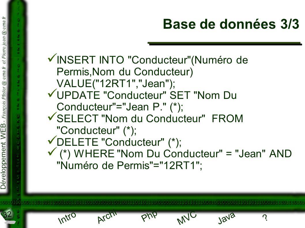 32 Développement WEB - François.Pfister @ ema.fr et Pierre.jean @ ema.fr Intro Archi Php Java ? MVC Base de données 3/3 INSERT INTO