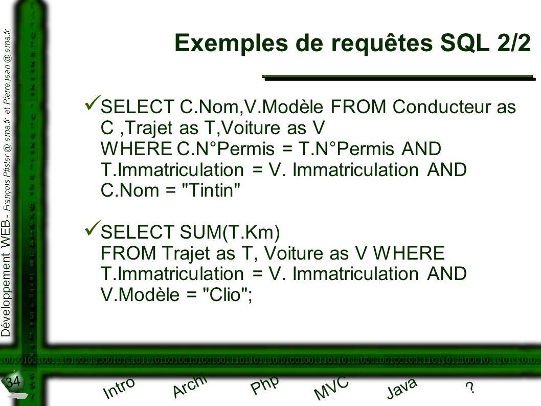 34 Développement WEB - François.Pfister @ ema.fr et Pierre.jean @ ema.fr Intro Archi Php Java ? MVC Exemples de requêtes SQL 2/2 SELECT C.Nom,V.Modèle
