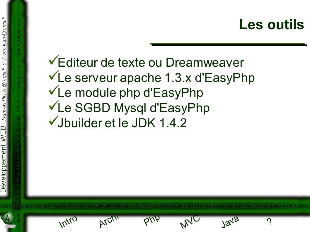 4 Développement WEB - François.Pfister @ ema.fr et Pierre.jean @ ema.fr Intro Archi Php Java ? MVC Les outils Editeur de texte ou Dreamweaver Le serve