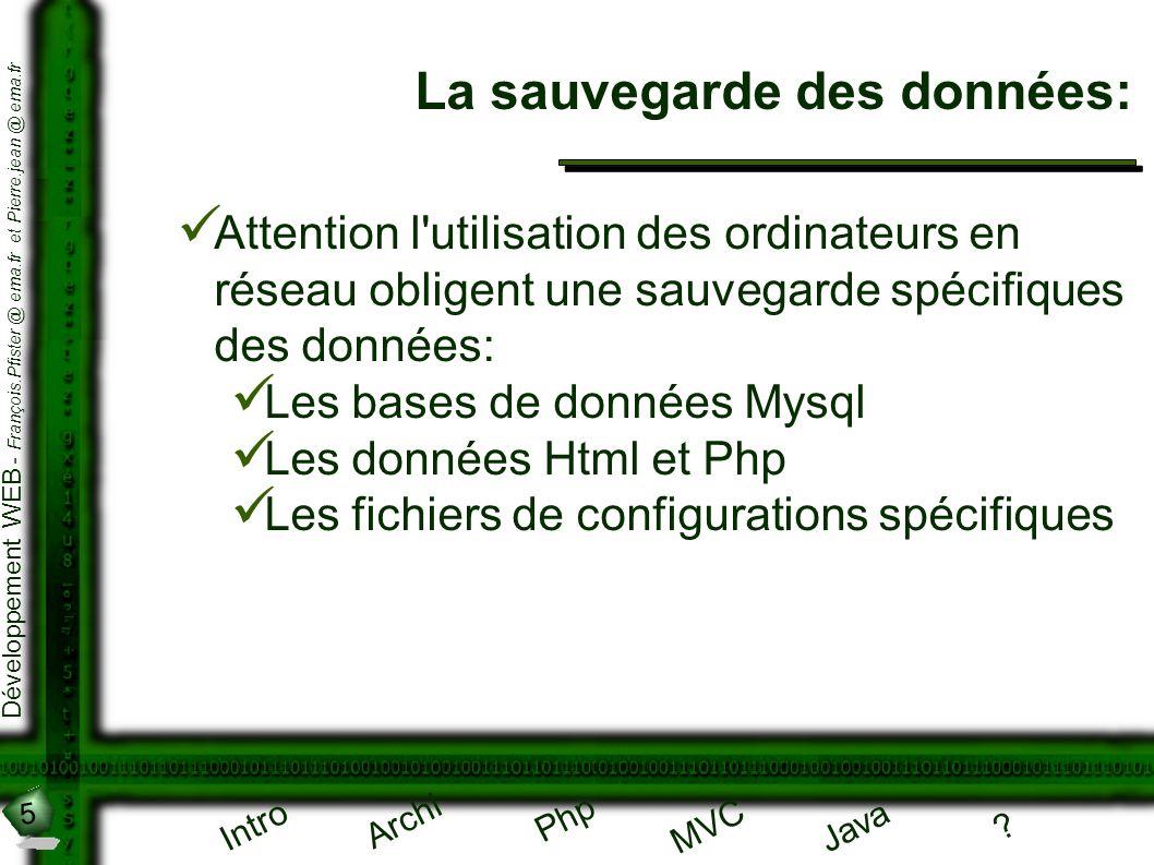 5 Développement WEB - François.Pfister @ ema.fr et Pierre.jean @ ema.fr Intro Archi Php Java ? MVC La sauvegarde des données: Attention l'utilisation