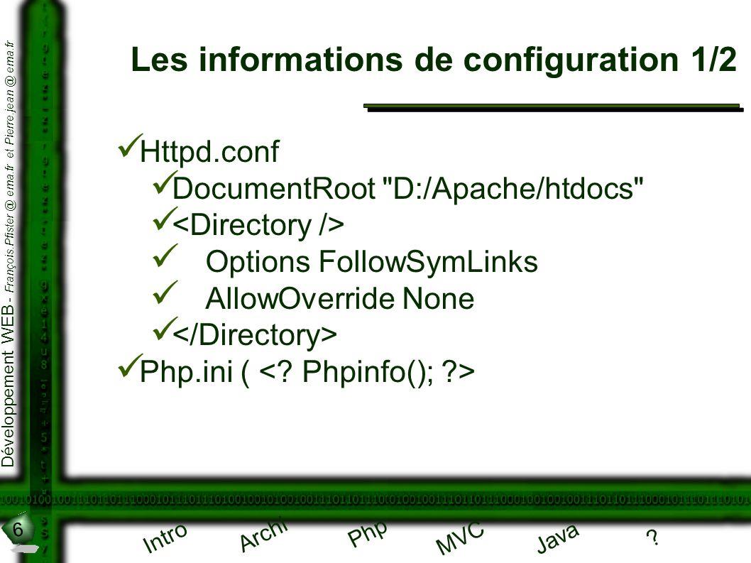 6 Développement WEB - François.Pfister @ ema.fr et Pierre.jean @ ema.fr Intro Archi Php Java ? MVC Les informations de configuration 1/2 Httpd.conf Do