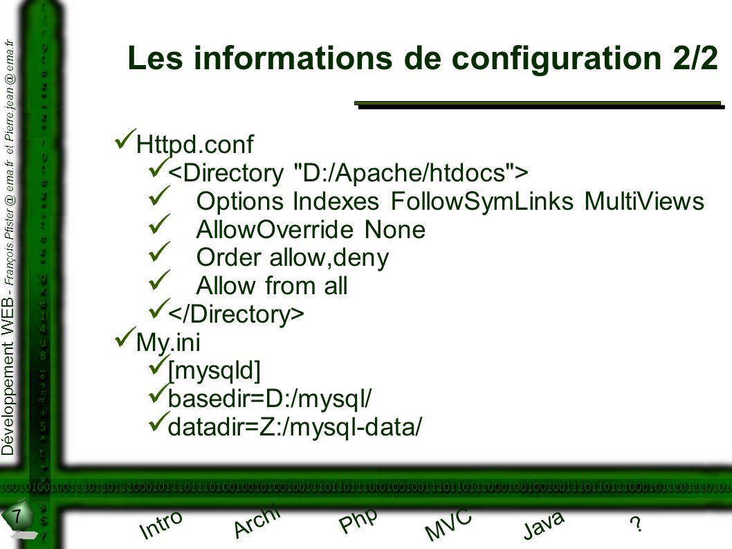 7 Développement WEB - François.Pfister @ ema.fr et Pierre.jean @ ema.fr Intro Archi Php Java ? MVC Les informations de configuration 2/2 Httpd.conf Op