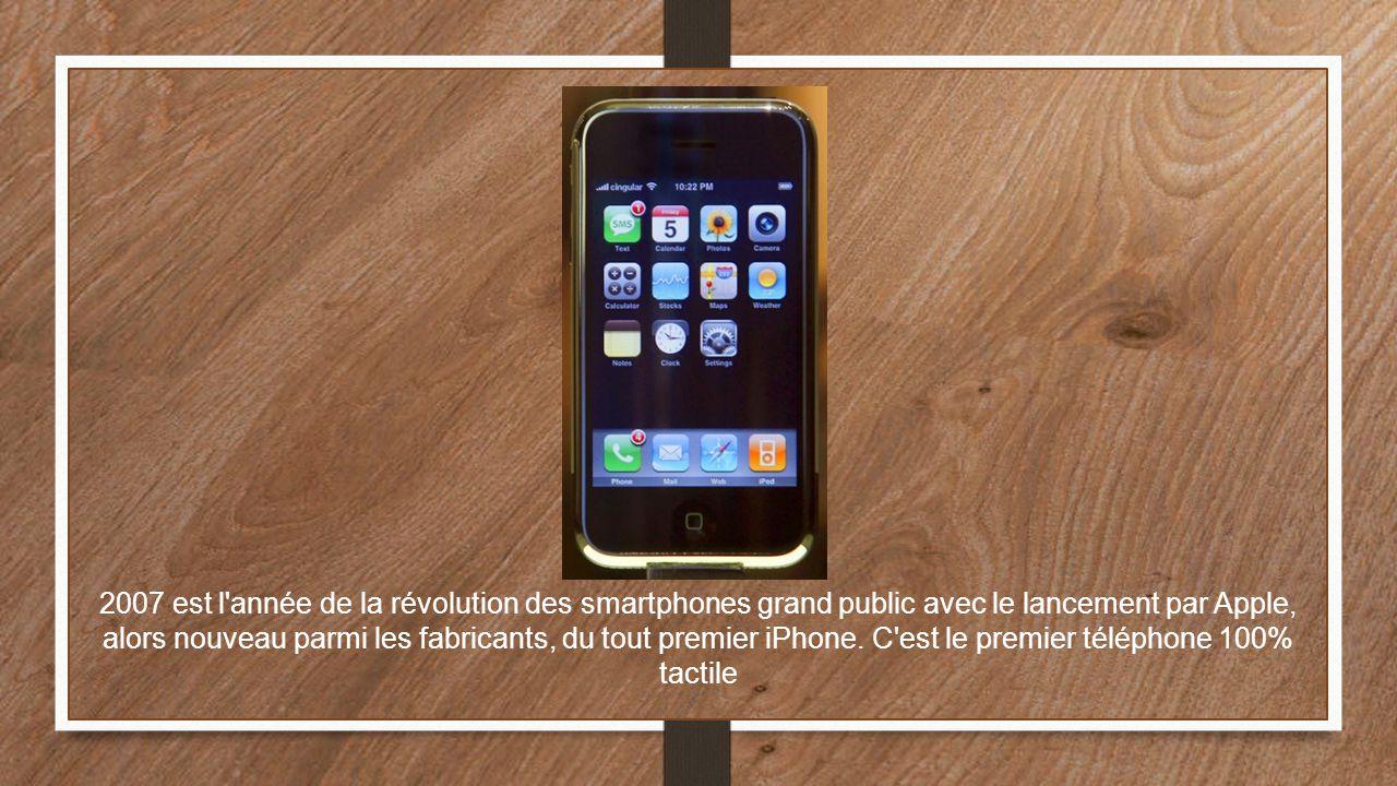 2007 est l'année de la révolution des smartphones grand public avec le lancement par Apple, alors nouveau parmi les fabricants, du tout premier iPhone