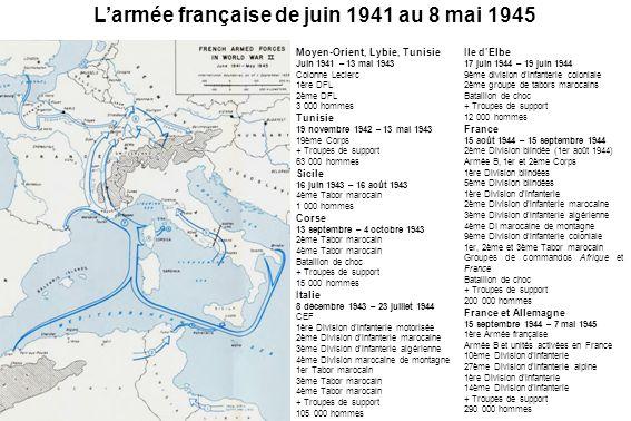 Moyen-Orient, Lybie, Tunisie Juin 1941 – 13 mai 1943 Colonne Leclerc 1ère DFL 2ème DFL 3 000 hommes Tunisie 19 novembre 1942 – 13 mai 1943 19ème Corps