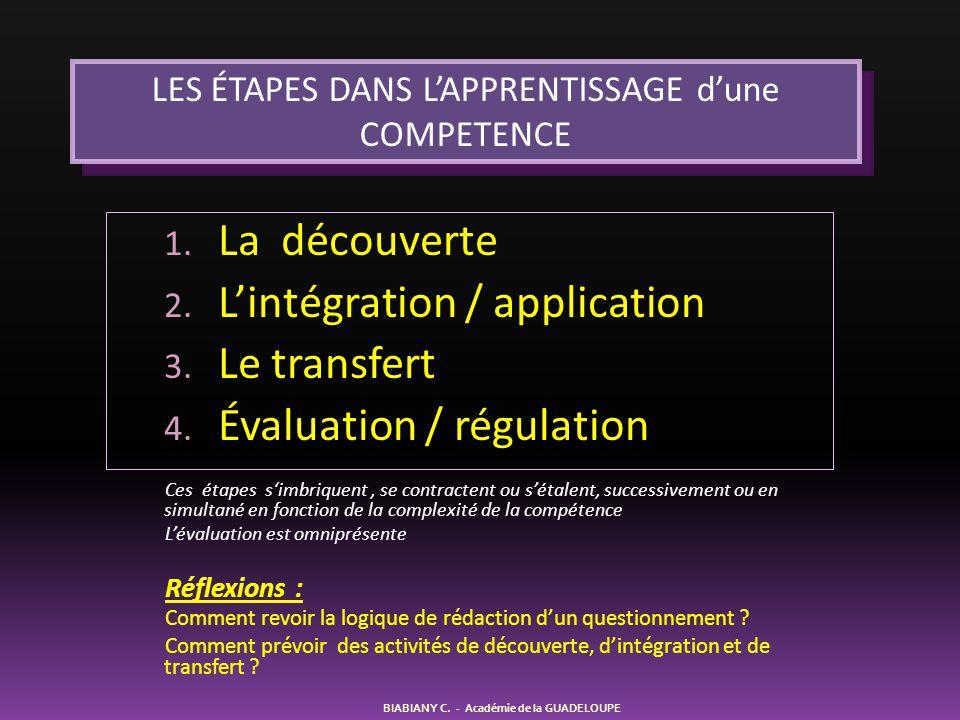 1. La découverte 2. L'intégration / application 3. Le transfert 4. Évaluation / régulation LES ÉTAPES DANS L'APPRENTISSAGE d'une COMPETENCE BIABIANY C