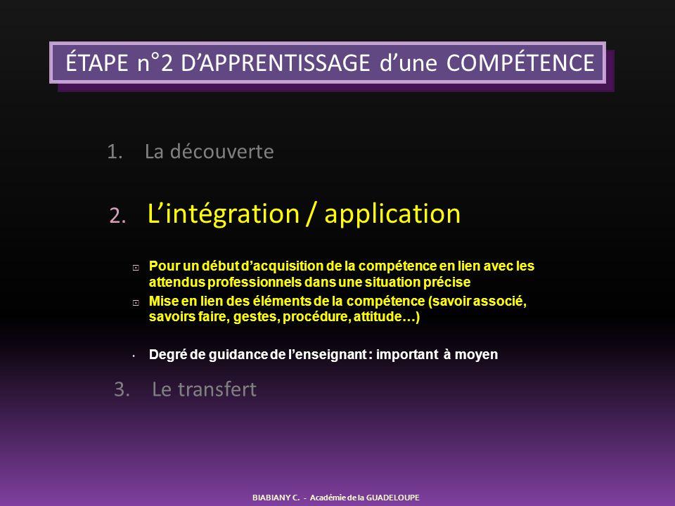 2. L'intégration / application  Pour un début d'acquisition de la compétence en lien avec les attendus professionnels dans une situation précise  Mi