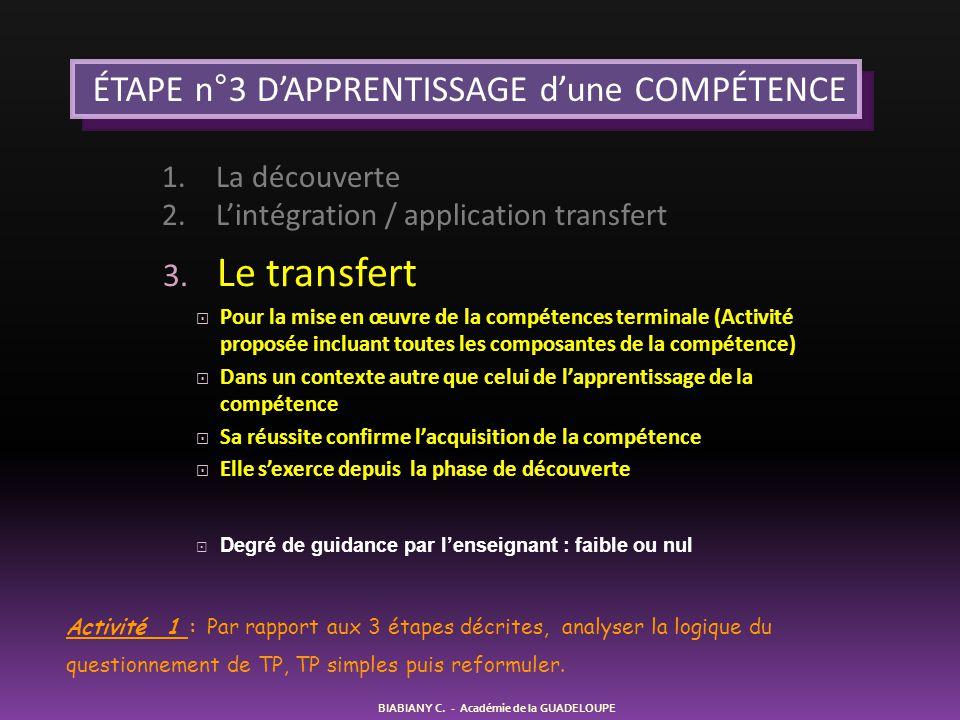 3. Le transfert  Pour la mise en œuvre de la compétences terminale (Activité proposée incluant toutes les composantes de la compétence)  Dans un con
