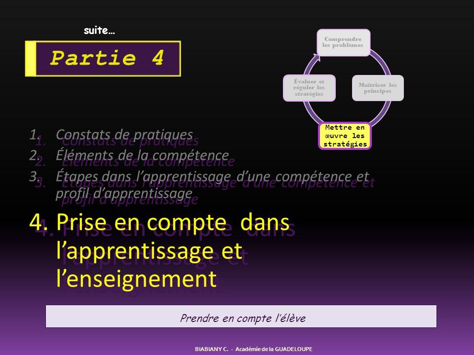 1.Constats de pratiques 2.Éléments de la compétence 3.Étapes dans l'apprentissage d'une compétence et profil d'apprentissage 4.Prise en compte dans l'