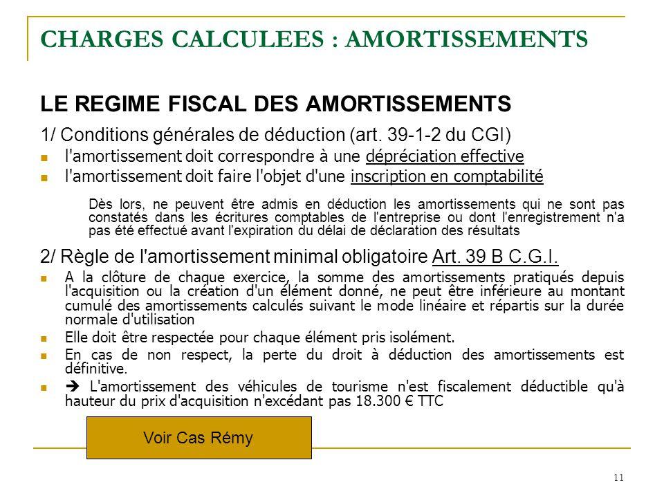 11 CHARGES CALCULEES : AMORTISSEMENTS LE REGIME FISCAL DES AMORTISSEMENTS 1/ Conditions générales de déduction (art. 39-1-2 du CGI) l'amortissement do