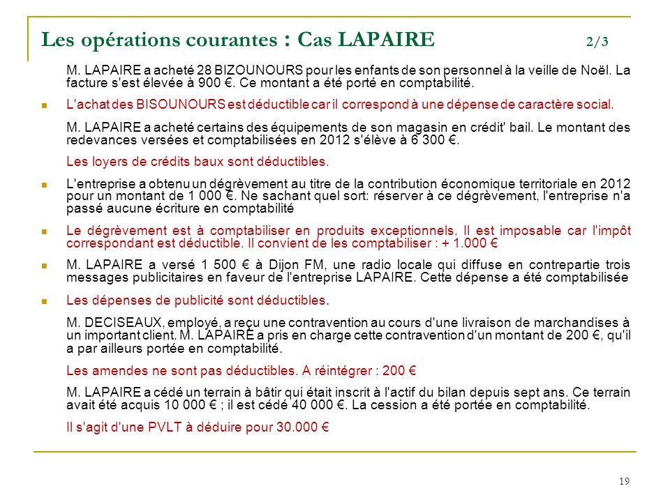 19 Les opérations courantes : Cas LAPAIRE 2/3 M. LAPAIRE a acheté 28 BIZOUNOURS pour les enfants de son personnel à la veille de Noël. La facture s'es