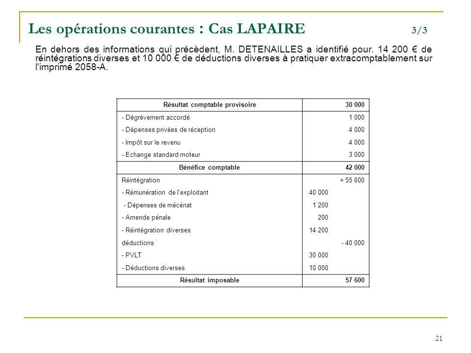 21 Les opérations courantes : Cas LAPAIRE 3/3 En dehors des informations qui précèdent, M. DETENAILLES a identifié pour. 14 200 € de réintégrations di