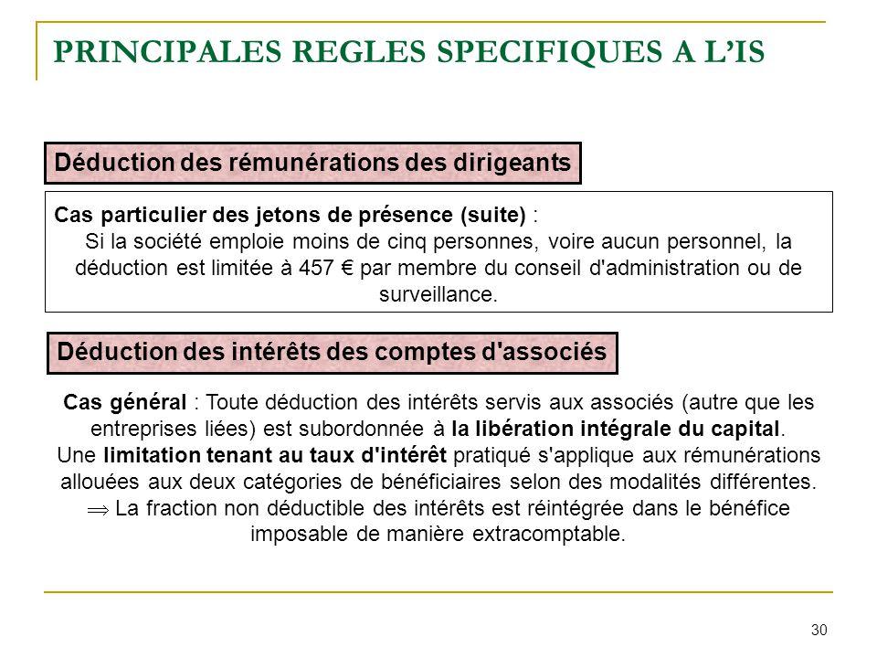 30 PRINCIPALES REGLES SPECIFIQUES A L'IS Déduction des rémunérations des dirigeants Cas particulier des jetons de présence (suite) : Si la société emp