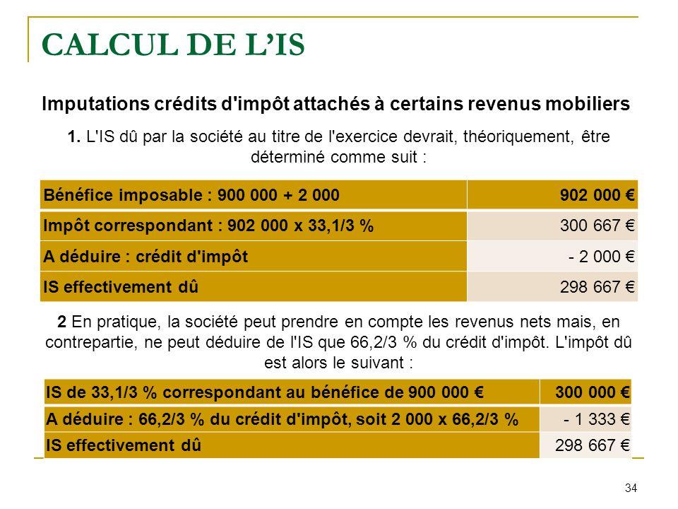 34 CALCUL DE L'IS Imputations crédits d'impôt attachés à certains revenus mobiliers 1. L'IS dû par la société au titre de l'exercice devrait, théoriqu