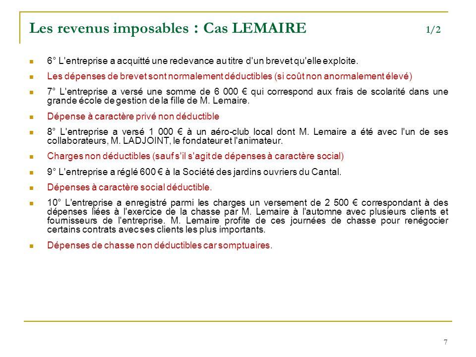 77 Les revenus imposables : Cas LEMAIRE 1/2 6° L'entreprise a acquitté une redevance au titre d'un brevet qu'elle exploite. Les dépenses de brevet son