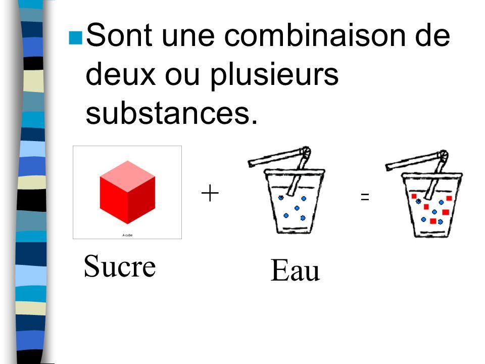 Différences entre mélanges et substances pures Les mélanges... n PEUVENT avoir différentes composantes visibles. OU n PEUVENT sembler uniformes.