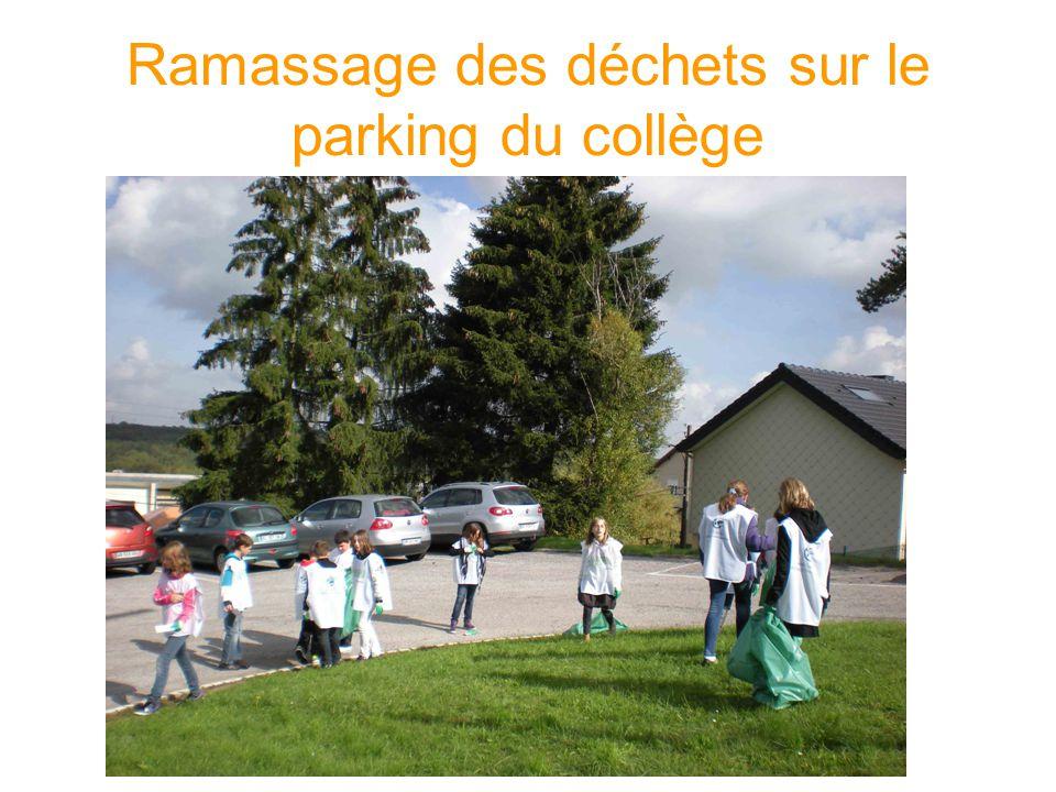 Ramassage des déchets sur le parking du collège