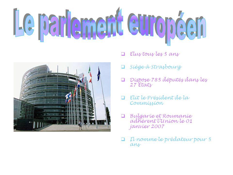  Élus tous les 5 ans  Siège à Strasbourg  Dispose 785 députés dans les 27 États  Élit le Président de la Commission  Bulgarie et Roumanie adhèrent l'Union le 01 janvier 2007  Il nomme le prédateur pour 5 ans