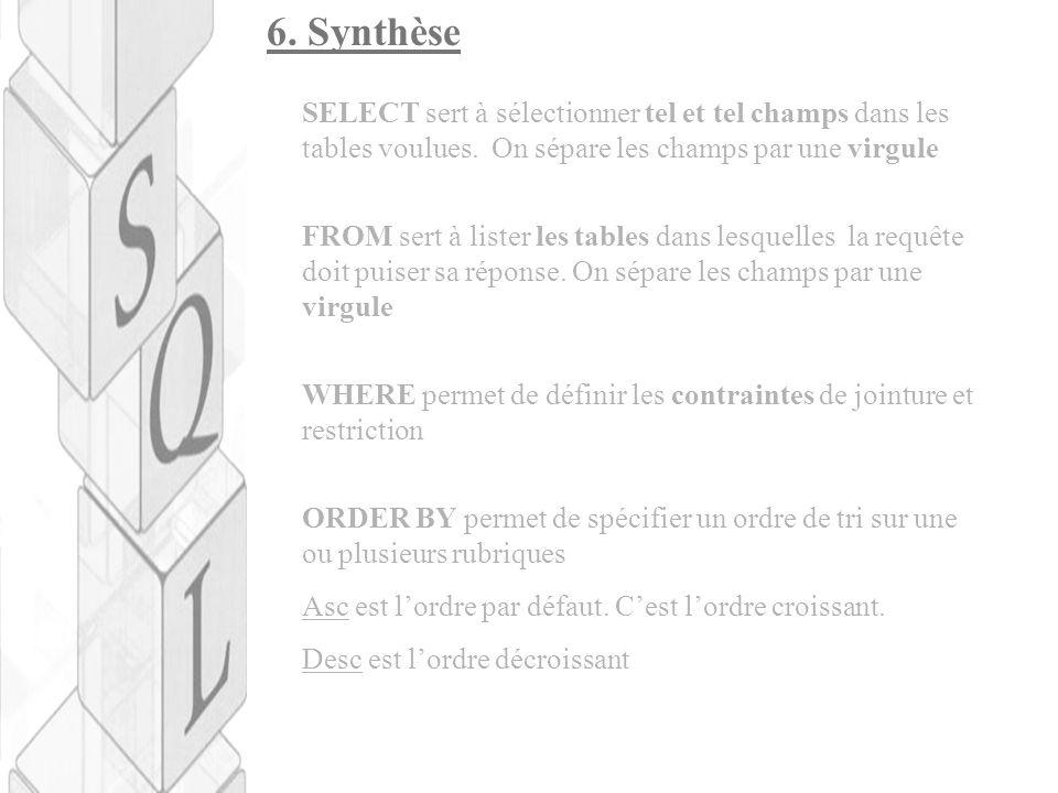 6. Synthèse SELECT sert à sélectionner tel et tel champs dans les tables voulues. On sépare les champs par une virgule FROM sert à lister les tables d