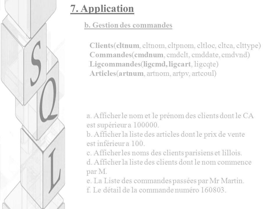 7. Application Clients(cltnum, cltnom, cltpnom, cltloc, cltca, clttype) Commandes(cmdnum, cmdclt, cmddate, cmdvnd) Ligcommandes(ligcmd, ligcart, ligcq