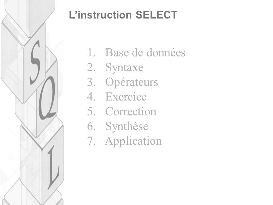 L'instruction SELECT 1. Base de données 2. Syntaxe 3. Opérateurs 4. Exercice 5. Correction 6. Synthèse 7. Application