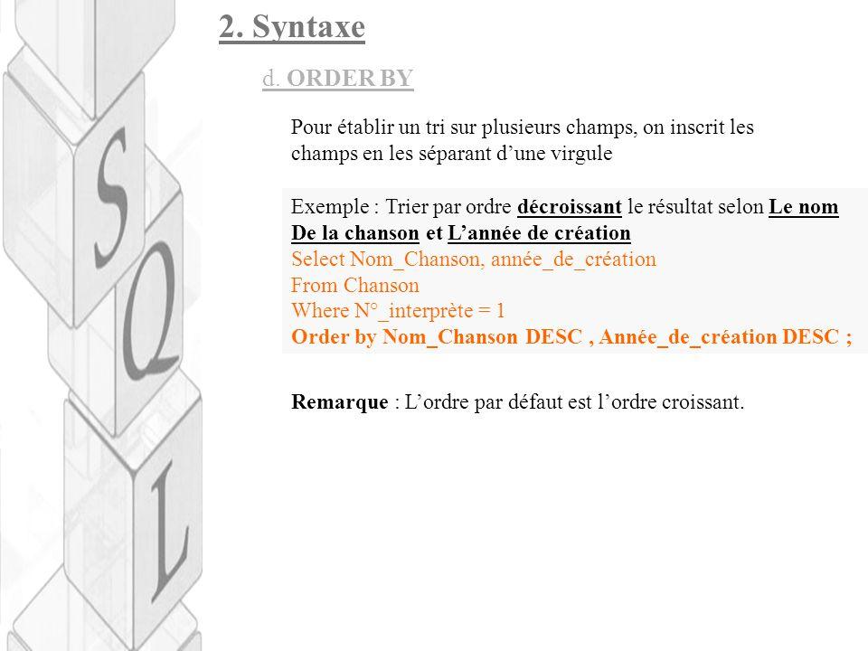 2.Syntaxe d. ORDER BY Remarque : L'ordre par défaut est l'ordre croissant.