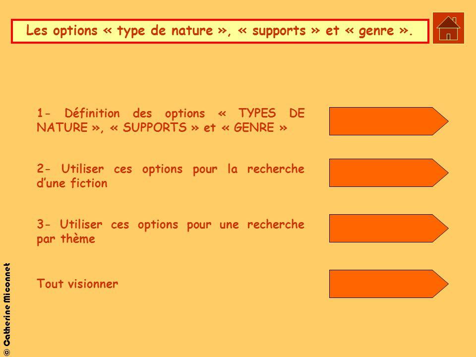 © Catherine Miconnet Les options « type de nature », « supports » et « genre ». 1- Définition des options « TYPES DE NATURE », « SUPPORTS » et « GENRE
