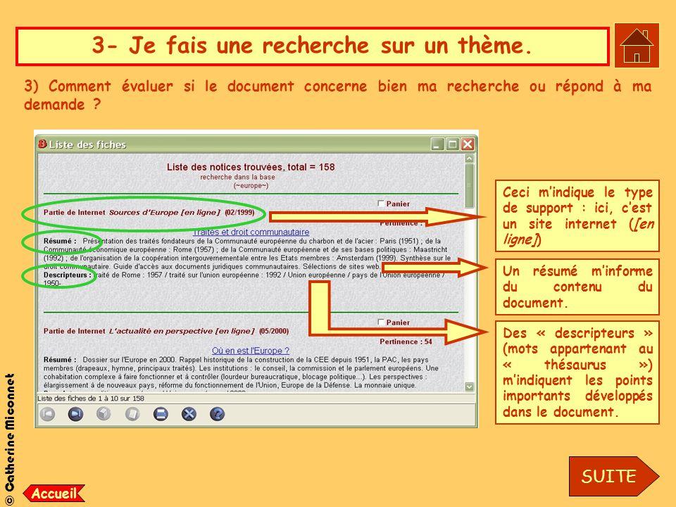 © Catherine Miconnet 3- Je fais une recherche sur un thème. 3) Comment évaluer si le document concerne bien ma recherche ou répond à ma demande ? Ceci