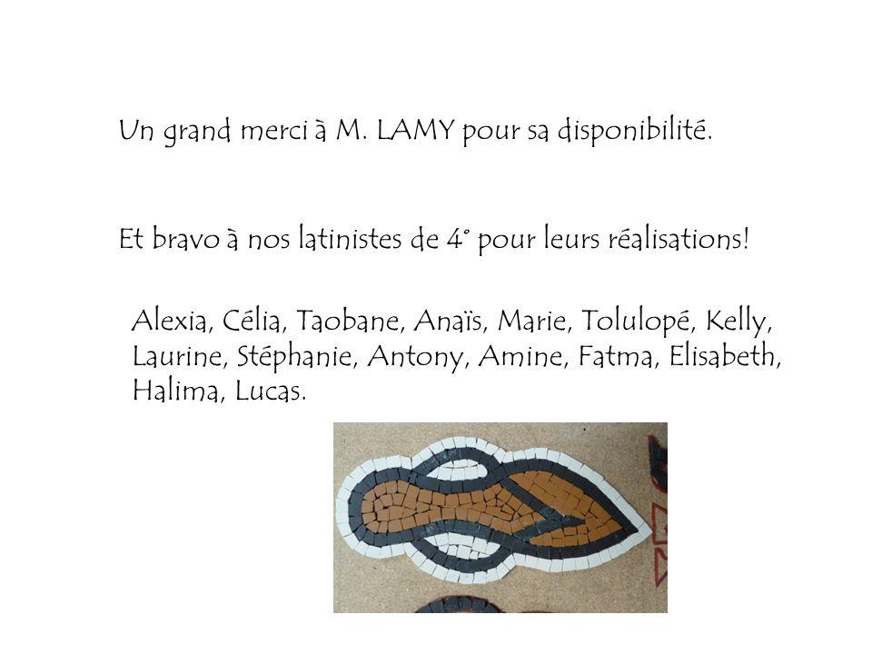 Un grand merci à M. LAMY pour sa disponibilité. Et bravo à nos latinistes de 4° pour leurs réalisations! Alexia, Célia, Taobane, Anaïs, Marie, Tolulop