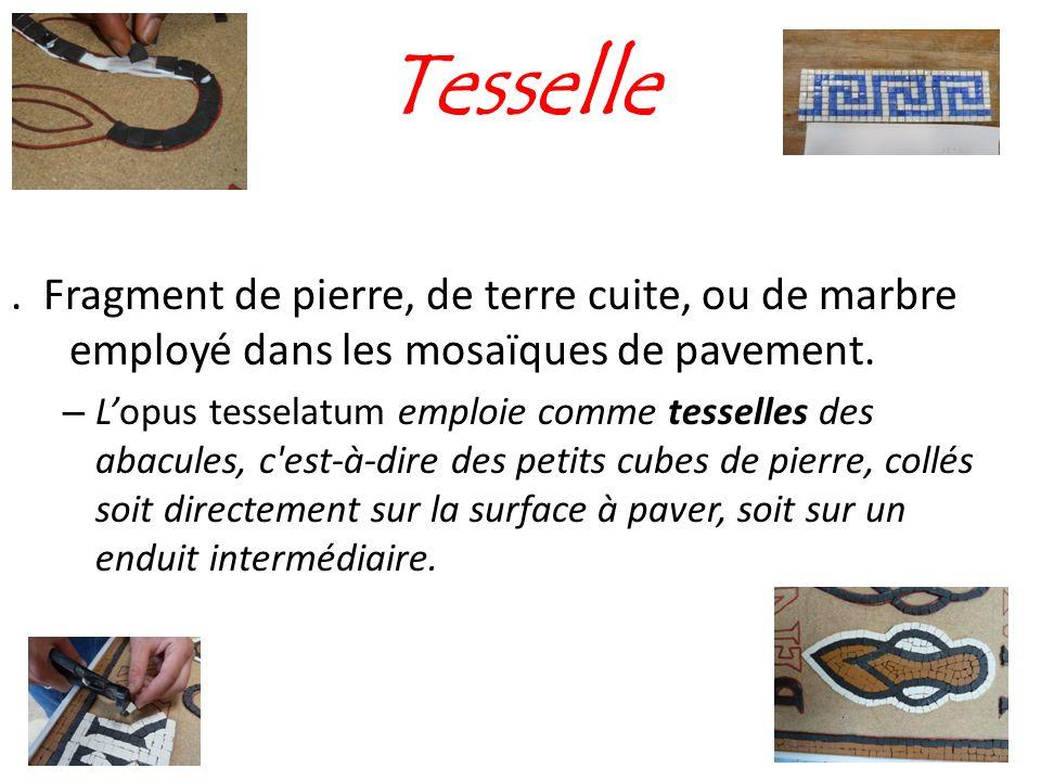 Tesselle. Fragment de pierre, de terre cuite, ou de marbre employé dans les mosaïques de pavement. – L'opus tesselatum emploie comme tesselles des aba