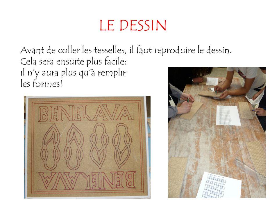 LE DESSIN Avant de coller les tesselles, il faut reproduire le dessin. Cela sera ensuite plus facile: il n'y aura plus qu'à remplir les formes!