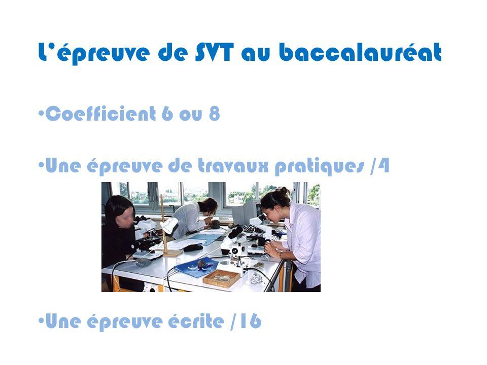 L'épreuve de SVT au baccalauréat Coefficient 6 ou 8 Une épreuve de travaux pratiques /4 Une épreuve écrite /16