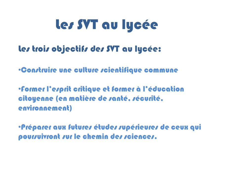 Les SVT au lycée Les trois objectifs des SVT au lycée: Construire une culture scientifique commune Former l'esprit critique et former à l'éducation ci