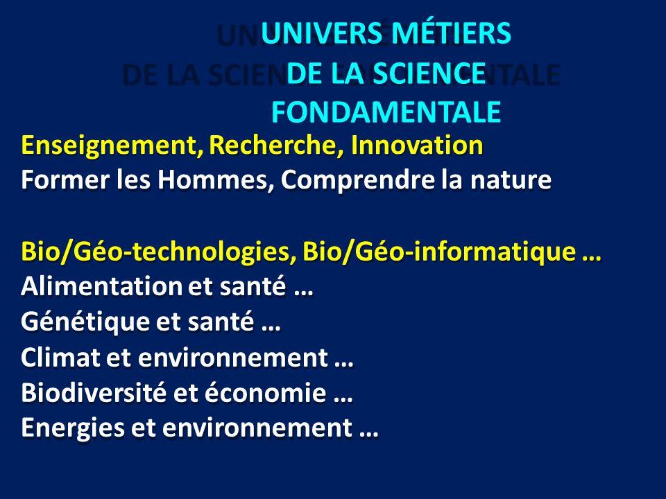 UNIVERS MÉTIERS DE LA SCIENCE FONDAMENTALE Enseignement, Recherche, Innovation Former les Hommes, Comprendre la nature Bio/Géo-technologies, Bio/Géo-i