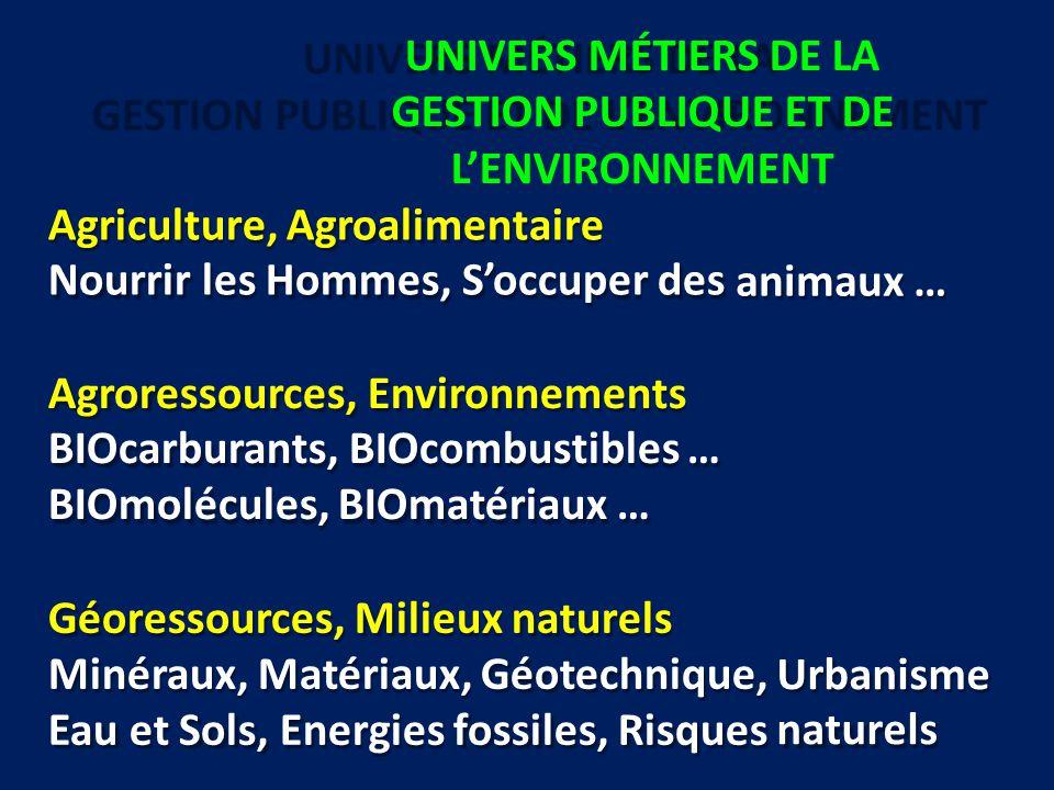 UNIVERS MÉTIERS DE LA GESTION PUBLIQUE ET DE L'ENVIRONNEMENT Agriculture, Agroalimentaire Nourrir les Hommes, S'occuper des animaux … Agroressources,