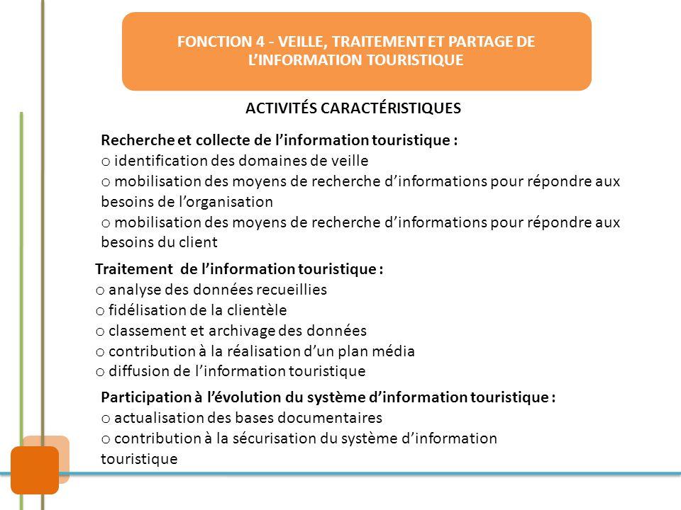 FONCTION 4 - VEILLE, TRAITEMENT ET PARTAGE DE L'INFORMATION TOURISTIQUE ACTIVITÉS CARACTÉRISTIQUES Recherche et collecte de l'information touristique