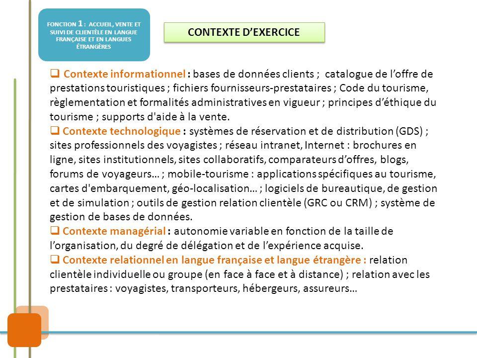 FONCTION 1 : ACCUEIL, VENTE ET SUIVI DE CLIENTÈLE EN LANGUE FRANÇAISE ET EN LANGUES ÉTRANGÈRES  Contexte informationnel : bases de données clients ;