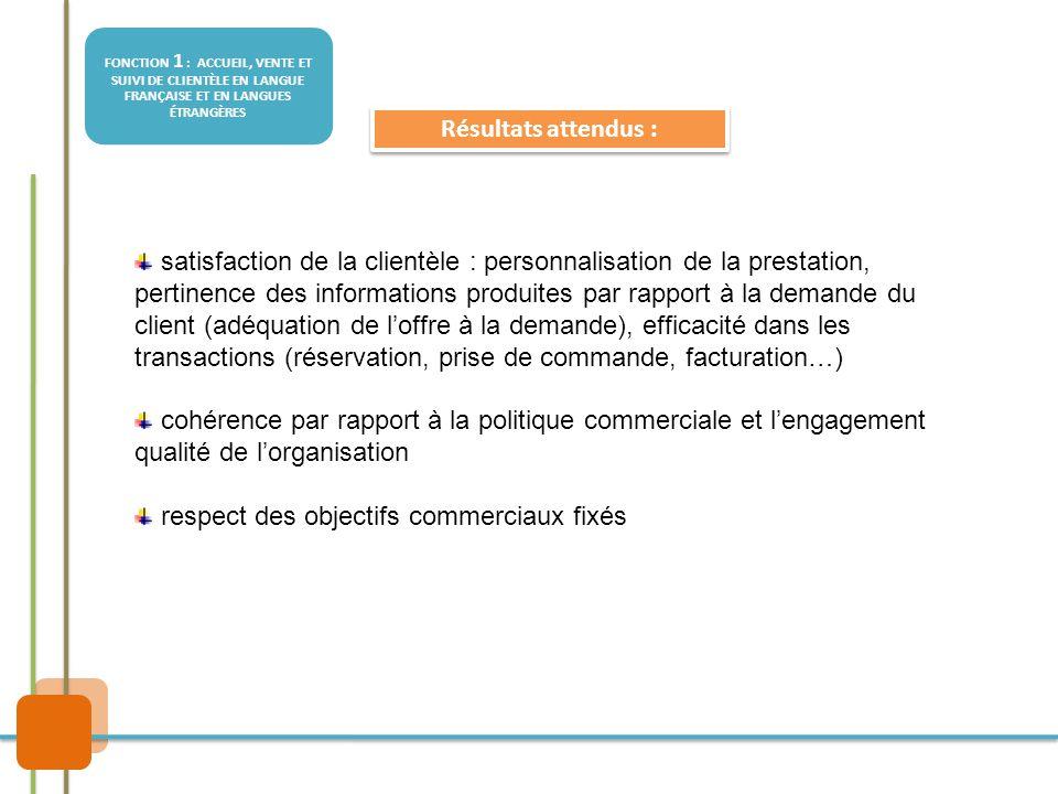 FONCTION 1 : ACCUEIL, VENTE ET SUIVI DE CLIENTÈLE EN LANGUE FRANÇAISE ET EN LANGUES ÉTRANGÈRES Résultats attendus : satisfaction de la clientèle : per
