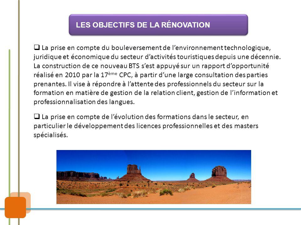  La prise en compte du bouleversement de l'environnement technologique, juridique et économique du secteur d'activités touristiques depuis une décenn