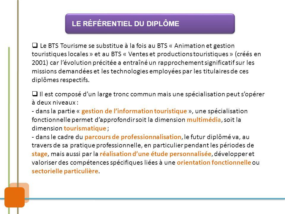  Le BTS Tourisme se substitue à la fois au BTS « Animation et gestion touristiques locales » et au BTS « Ventes et productions touristiques » (créés
