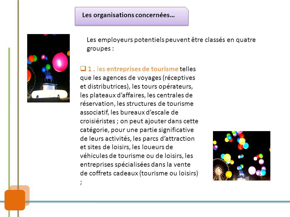 Les organisations concernées… Les employeurs potentiels peuvent être classés en quatre groupes :  1. les entreprises de tourisme telles que les agenc