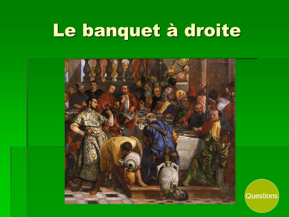 Le banquet à droite Questions